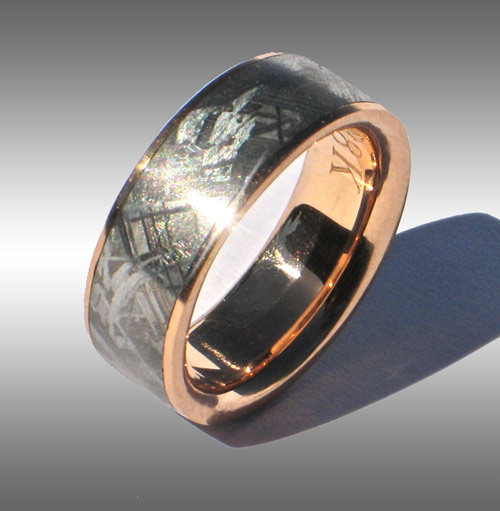 Meteorite Amp Rose Gold Ring Style 041