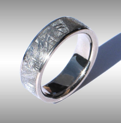 meteorite wedding ring gibeon meteorite ring in white gold 008 5848